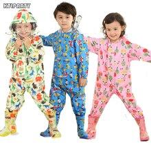 3 8 ปีเด็กการ์ตูนกันน้ำ Jumpsuit เสื้อกันฝนเด็กเสื้อกันฝนเด็ก Poncho สัตว์กวาง Hooded เสื้อกันฝน