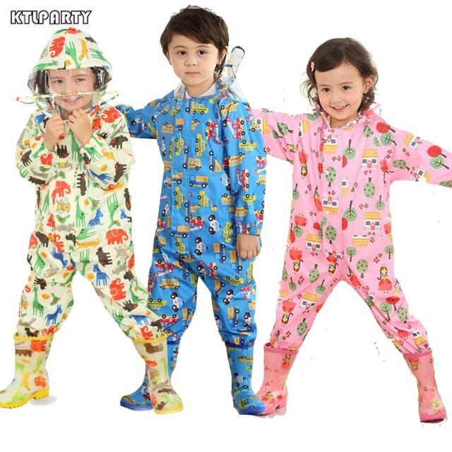 3 8 Years Old Kids Cartoon Waterproof Jumpsuit Raincoat Boys Girls Rainwear Children Poncho Animal Deer Hooded Raincoat Suit