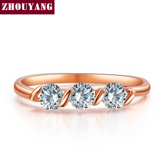 Top Quality Concise Crystal Ring Rose Gold Color Austrian Crystals Full Sizes Wholesale R067 R068 1