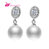 Natural White Women Gift Party Earring 8 9MM AAA Real Freshwater Pearl Earrings With Sterling Silver