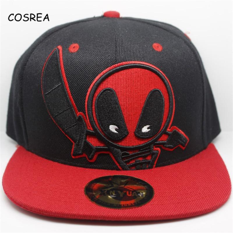 Deadpool Costume Snapback Black Hat Baseball Caps Visor Adult Marvel Superhero Homecoming Ladies Hats Female Cosplay Costume