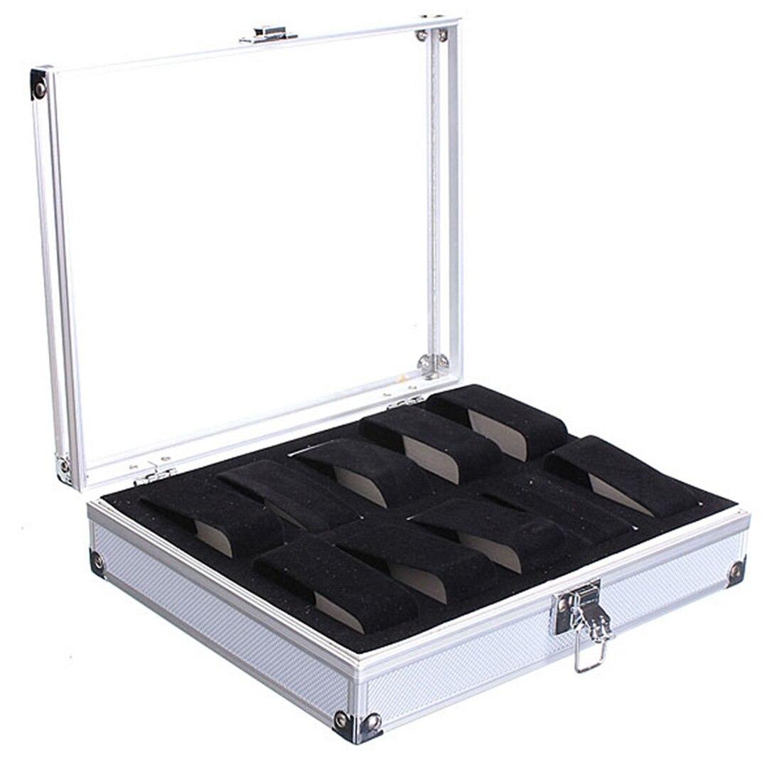 Aluminium Horloge Storage Case Armband Organisator Display Box Met Kussens Houders 10 Insert Slots Verfrissing