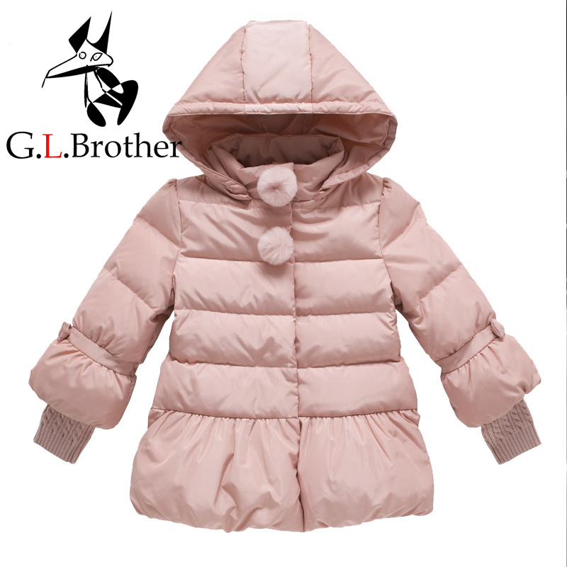Toddler Girls Winter Jackets Bow Jacket Kids Girl Down Coats Warm Hooded Children Outerwear Coat Pink Girls Clothes Cute LJ185 winter baby jackets outerwear casual toddler girls coats cute style cotton thick hooded coat children down outerwear