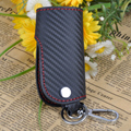3D Leather Carbon Fiber Remote Key Case Chains Straight Angle Keyless Fob Cover Holder For Ford Audi Toyota Nissan VW Kia Lada