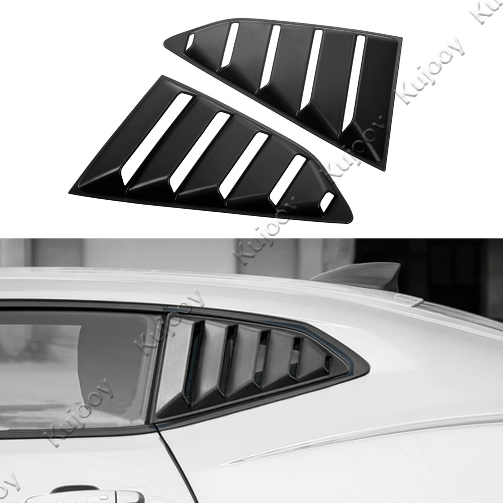 2Pcs Black Car Rear Window Side Vent Trim Louvers Scoop Ring Cover Exterior Kits Sticker For Chevrolet Camaro 2017+ Car Styling auto chrome camaro letters for 1968 1969 camaro emblem badge sticker
