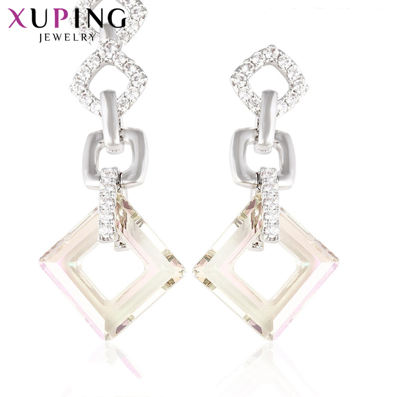 11.11 Xuping Jewelry Earrings Unique Rhombus Shape Elegant Crystals from Swarovski Pretty Christmas Gifts for Ladies 92931 chic rhinestone embellished rhombus shape earrings for women