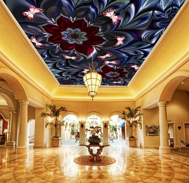 Custom Wallpaper 3D Ceiling Flower Luxury Royal Wallpaper For