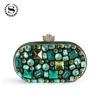 2017 de la moda de las mujeres hechas a mano del verde esmeralda de la gema cluthes bolsos mujer bolsos de noche de cristal de diamante del banquete de boda de oro bolsa de 845 t