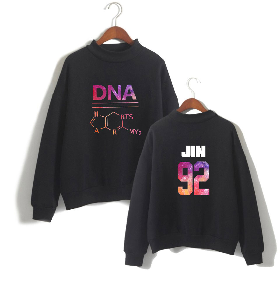 LUCKYFRIDAYF K-pop Bangtan Boys Album DNA ARMY Forever Sweatshirt Unisex Female Fans Women Turtleneck Capless Sweatshirt Clothes