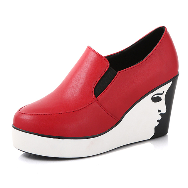 Superstar increased fashion women casual shoes sanglaide slip on wedge thick heel female footwear brand women black shoes flats