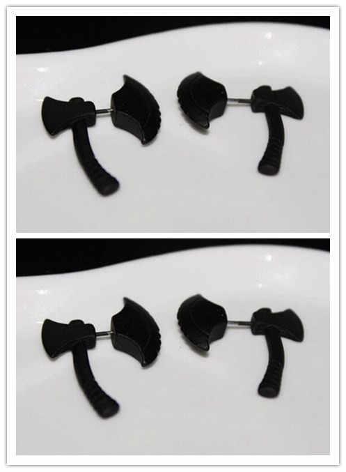 Moda balta saplama küpe kadın Punk Hip Hop Charm çift taraflı parti siyah Splice Ax küpe Unisex takı toptan 1 /2/3 çift