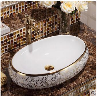 Wei yu the stage basin ceramic lavabo art basin Local tyrants gold oval lavatory continental basin in Bathroom Accessories Sets from Home Garden