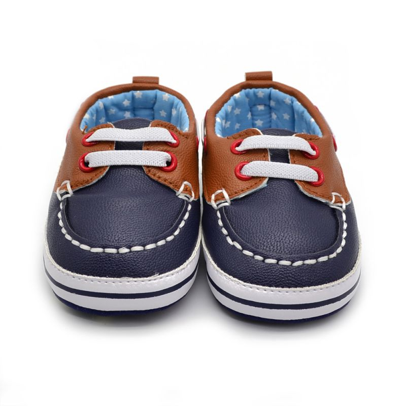 Fashion Boys Baby PU Læder Laces Up Crib Shoe Anti-Slip Prewalkers 0-18 Måned