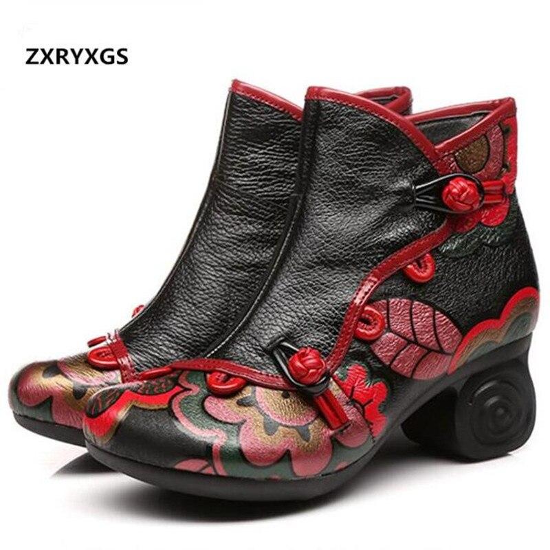 купить Original Handmade Women Fashion Shoes Wedding Autumn Winter Ankle Boots 2018 New Retro Flowers Genuine Leather Shoes Women Boots по цене 3676.07 рублей