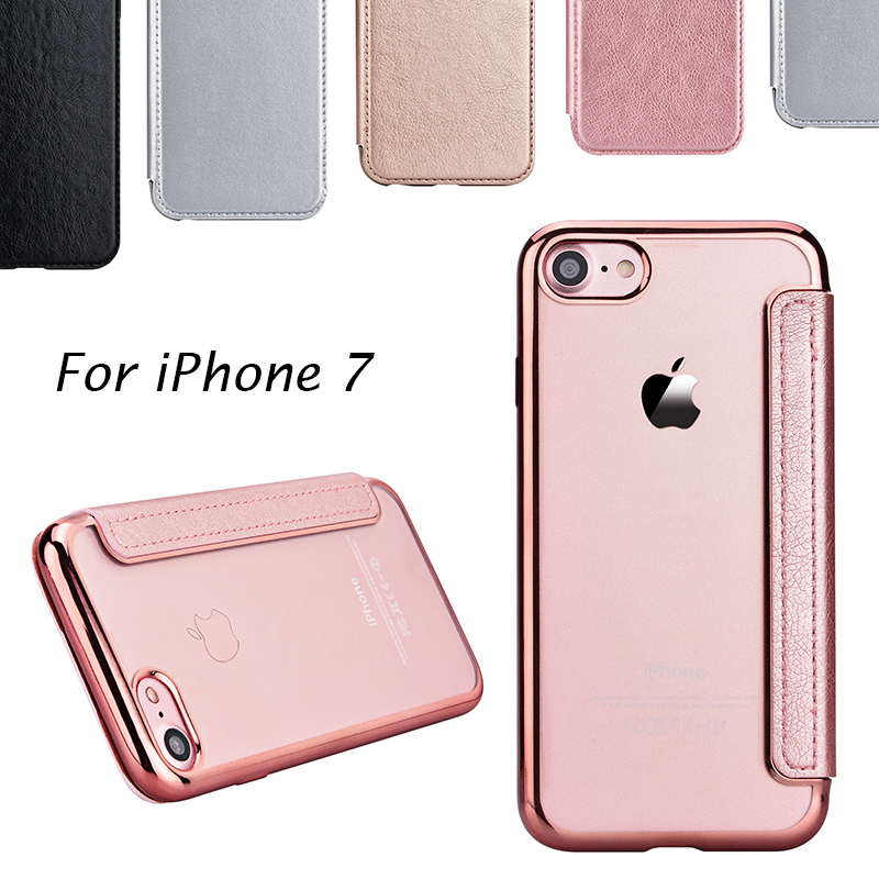 Yokata lederen flip case voor iphone 7 6 6s 6 plus 5 5s se luxe rose gold plating plaat coque flip back clear 360 alle cover