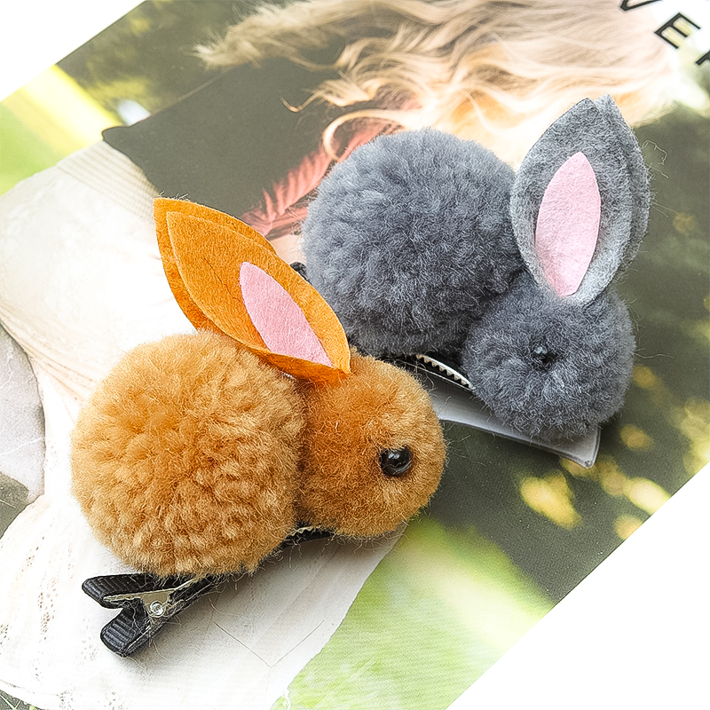 Cute hairpin hair ball rabbit hair circle female Korean version of the   headwear   rubber band hair rope children hair accessories