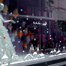 Feliz Navidad, adhesivos para pared con diseño de casas arte extraíble casa vinilo pegatinas de pared/ventana decoración etiqueta seguro para los niños