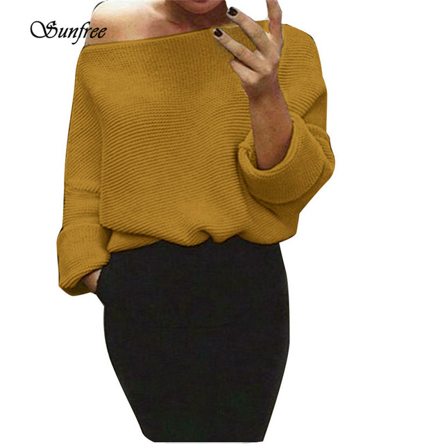 25123ccb37f788 Sunfree 2016 New Hot Sale Womens Off Shoulder Chunky Knit Knitted Oversize  Baggy Sweater Jumper Brand