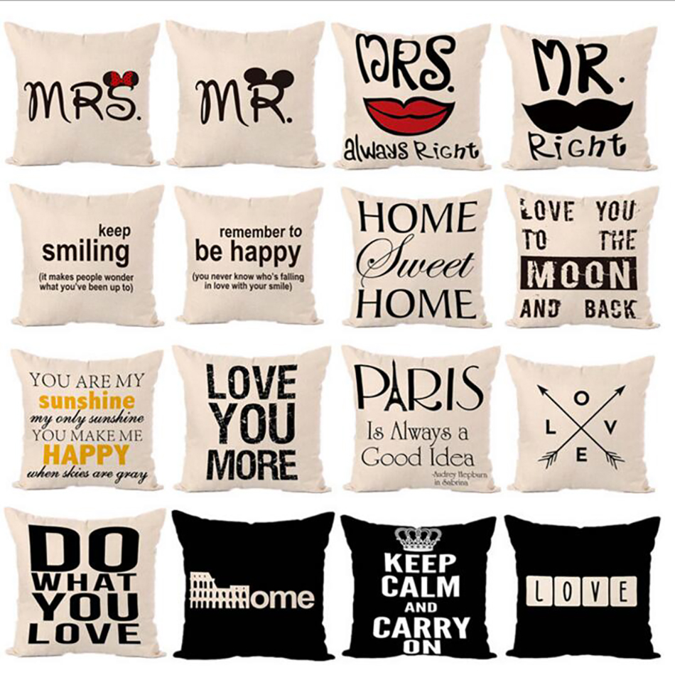 Letters Hot printed Linen Pillow Cover Letters Graphic Series Of Fashion Comfortable Home Square Pillow back rest pillowcase chic colorful paillette pattern square shape flax pillowcase without pillow inner