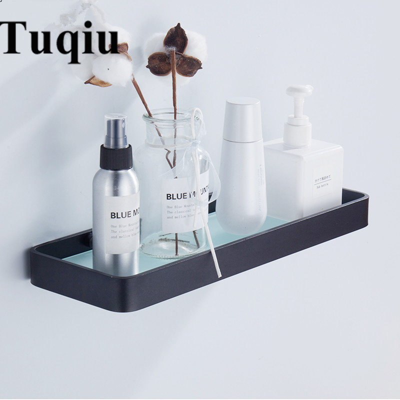 Étagère en verre en aluminium noir de 25 CM 35 CM 45 CM, étagères en verre carrées de salle de bains, support de salle de douche, étagère cosmétique
