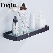 25 cm 35 cm 45 cm prateleira de vidro de alumínio preto, prateleiras de vidro do banheiro quadrado, rack de chuveiro, prateleira cosmética