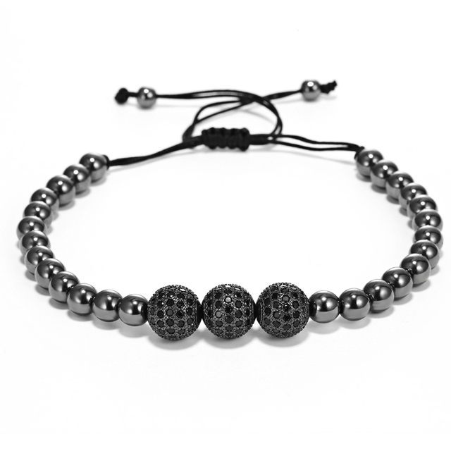 Mcllroy Style Men Bracelets Gold black Round Beads & 10mm Micro Pave Black CZ Beads three drill ball Free shipping
