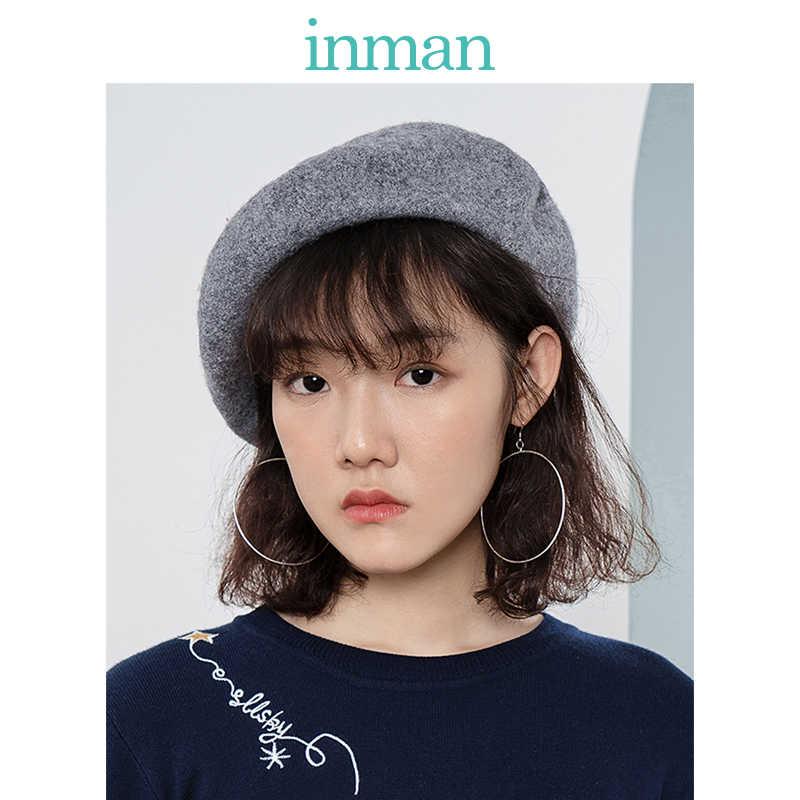 إنمان الخريف والشتاء الإناث الصوف النمط البريطاني الكورية القبعات اليابانية البرية نماذج الحياكة الفنان قبعة اليقطين قبعة