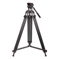 JY0508B 1.8m Aluminum Alloy Camera Tripod Foldable Telescoping DSLR Camcorder Video Photo Tripod with Fluid Drag Head Padded Bag