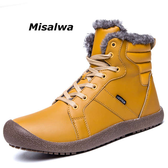 b19f108a0b49b3 Misalwa Winter Mens Snow Boots Fully Fur Lined Leather Male Rubber Antiskid  Waterproof Warm Ankle Boots For Men Big Plus 37-48