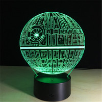 3D Death Star Night Lights Optical Visualization Illusion Lamp Star Wars DS 1 Platform 7 Colors