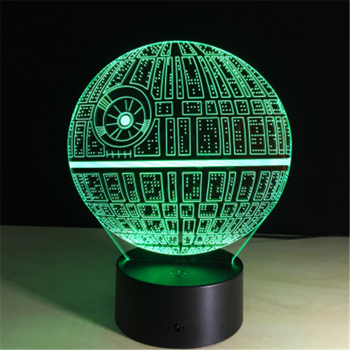 3D Death Star Night Lights Optical Visualization Illusion Lamp Star Wars DS-1 Platform 7 Colors Change Touch Switch Table Lamp