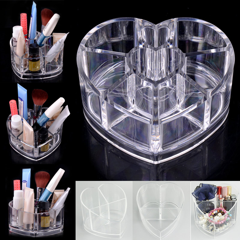 Fashion Desktop Storage Box Acrylic Heart-shaped Makeup Organizer Rack Jewelry Holder For Makeup Tool HB88