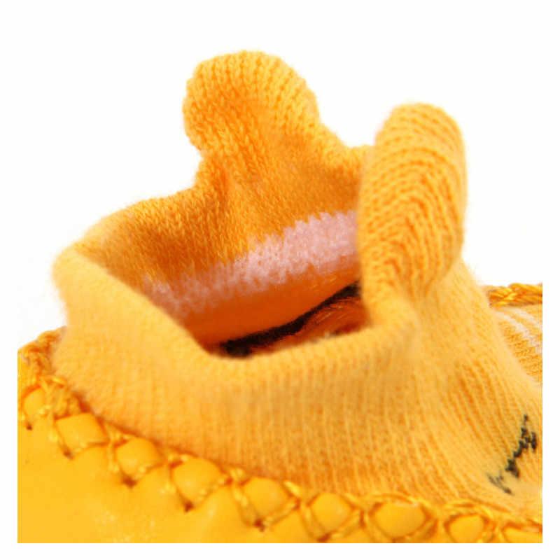 Модные детские носочки с резиновой подошвой, носки для новорожденных, Осень-зима, детские носки-тапочки, противоскользящая обувь, носки с мягкой подошвой