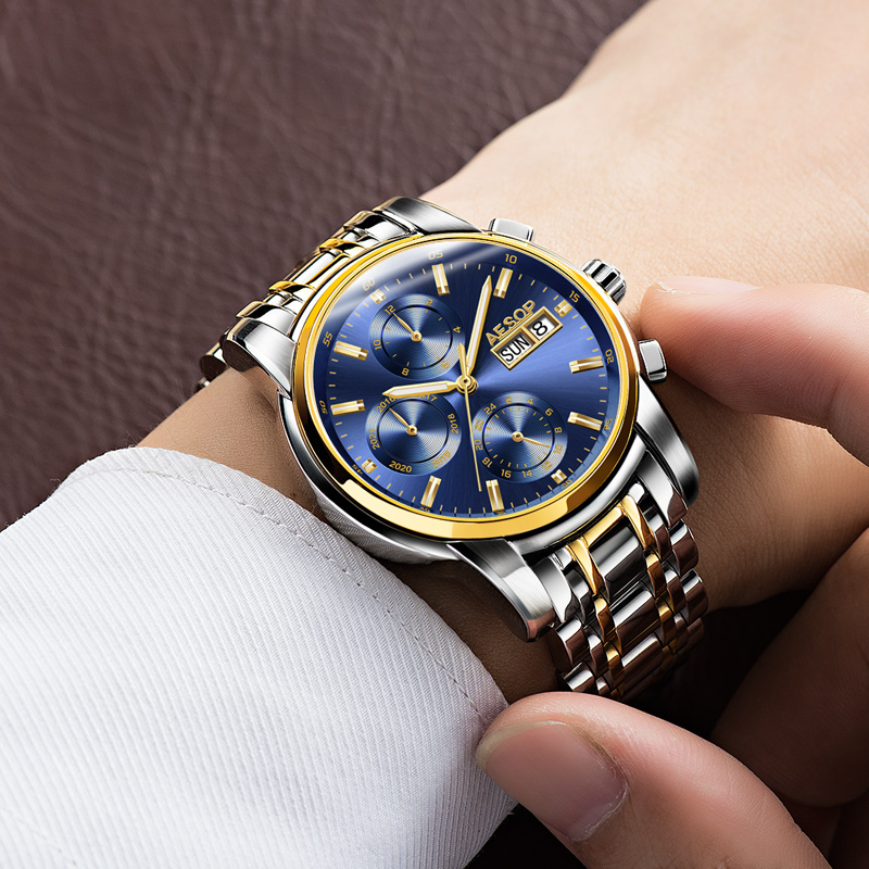 Relogio Masculino Aesop Ժամացույցներ Auto Ամսաթիվ - Տղամարդկանց ժամացույցներ - Լուսանկար 3