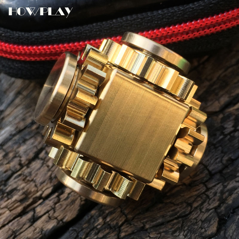 HowPlay fingertip gyro four-tooth linkage gear metal copper Decompression Cube adult child gift Stress Relief Toy fidget spinner