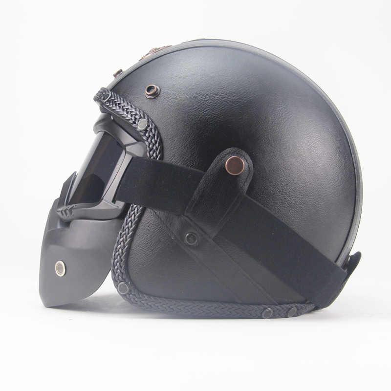 Darmowa wysyłka PU skórzane kaski 3/4 motor chopper Bike kask vintage kask motocyklowy z maską gogle