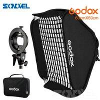 Godox Ajustable Flash Softbox 24*24inch 60 * 60cm + S type Bracket+Honeycomb Grid Mount Kit for Flash Speedlite Studio Shooting