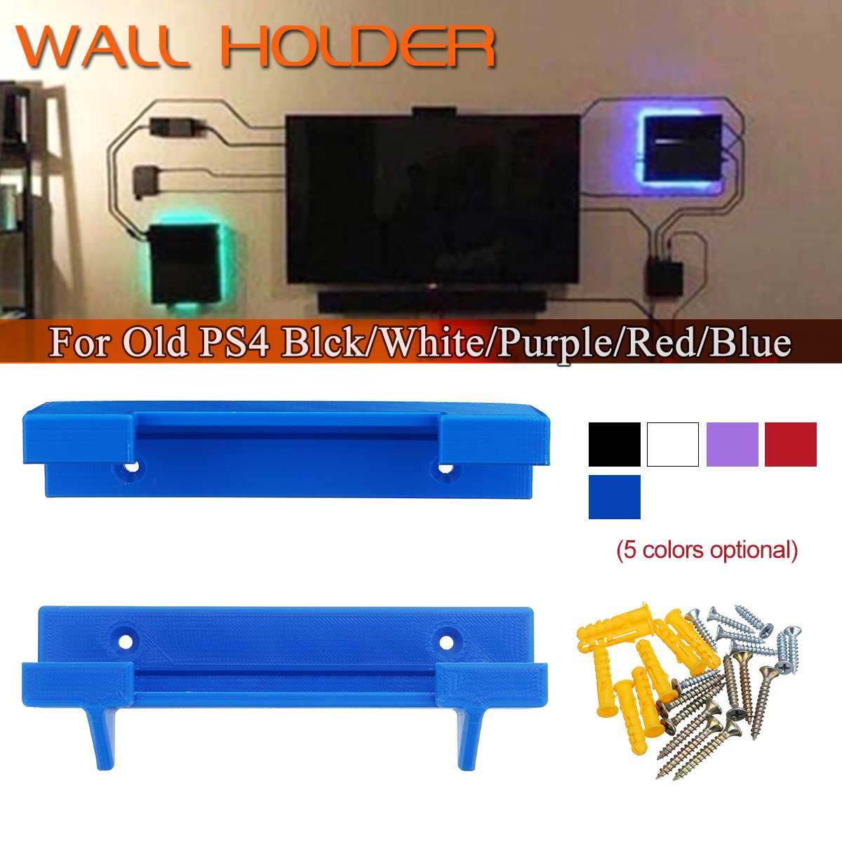 3D Print Wall Holder For PS4 Old For Playstation 4 Controller Game Pad Dock Gamepad Stand Holder 3D Printed With Screws