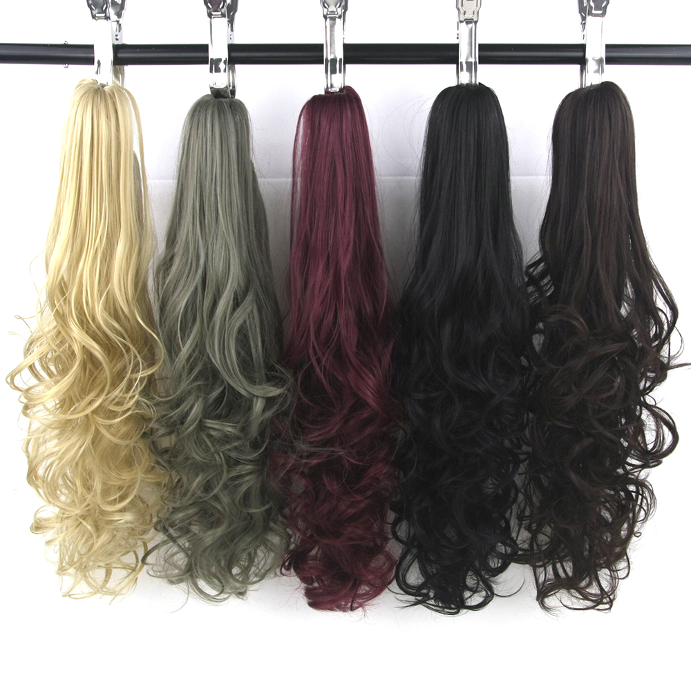Soowee 24inch Long Blonde Red Wavy Pony Tail High Temperature Fiber Claw Hairpiece Ponytail Synthetic Hair Extensions