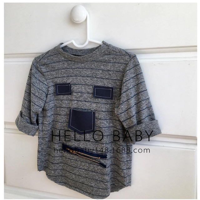 2-5 T Niños Ropa de 2017 Nuevos Niños Y Niñas de Manga Larga T-Shirt Super Lindo Chico Salvaje T-Shirt gris A Rayas Camiseta