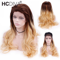 130 Density OM4/24 Dark Roots Blonde Human Hair Wig Pre Plucked Remy Ombre Lace Front Wigs With Baby Hair Brazilian Wigs HCDIVA