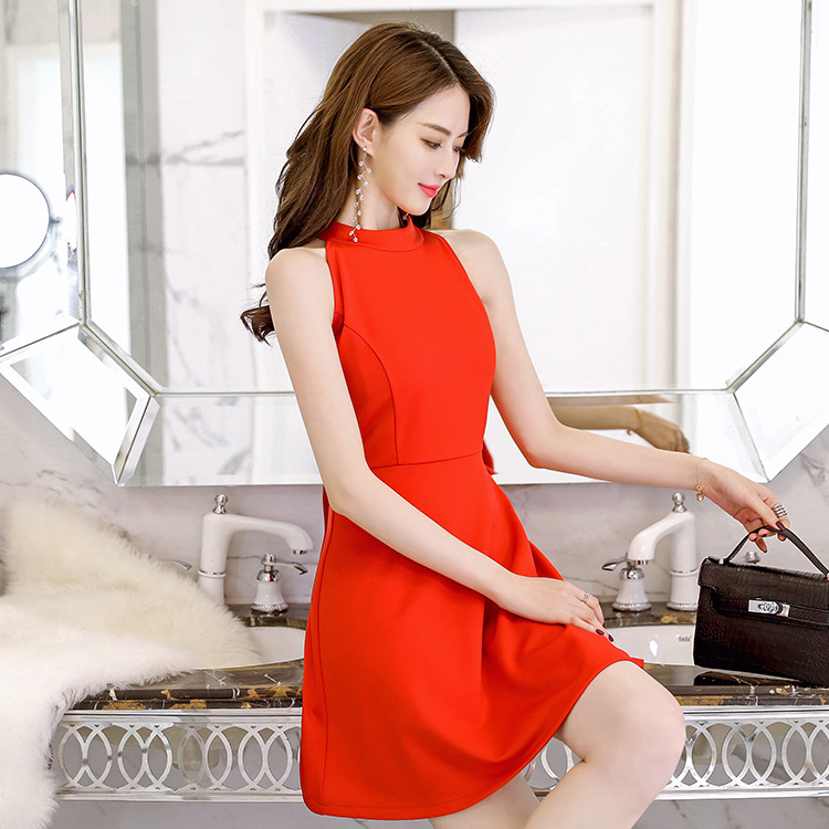 dress is han edition light ripe female summer wind A a-line pure color collar stitching women sleeveless