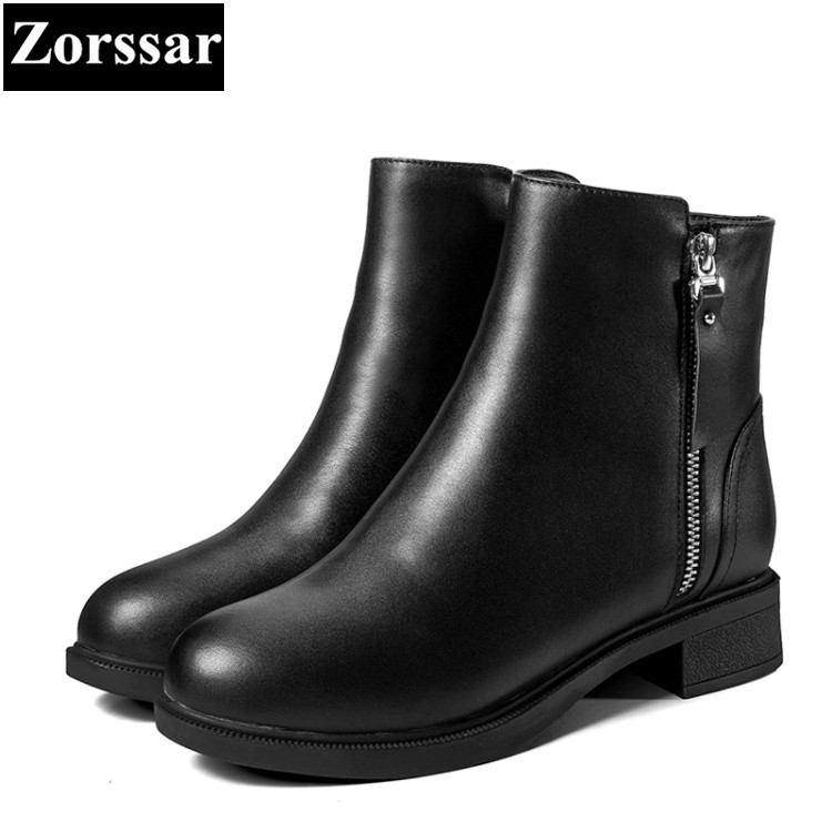 {Zorssar} 2017 NEW winter  female shoes Round Toe Genuine Leather low heel ankle Chelsea Boots plush women boots platform shoes front lace up casual ankle boots autumn vintage brown new booties flat genuine leather suede shoes round toe fall female fashion