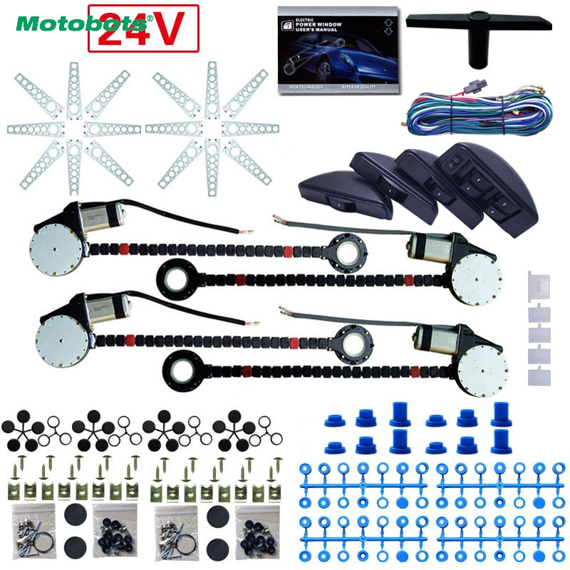 MOTOBOTS 1Set Universal Auto/Car 8pcs/Set Moon Swithces 4 Doors Electronice Power Window kits and Harness Cable DC24V