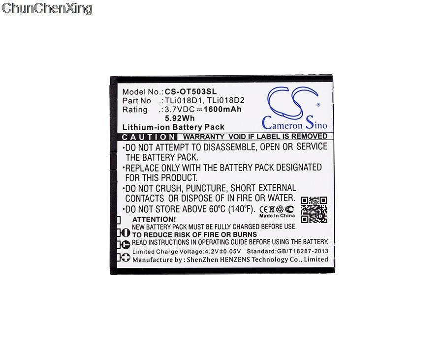 Аккумулятор Cameron Sino 1600 мАч TLi018D1, TLi018D2 для Alcatel One Touch Link Y858, Y858V