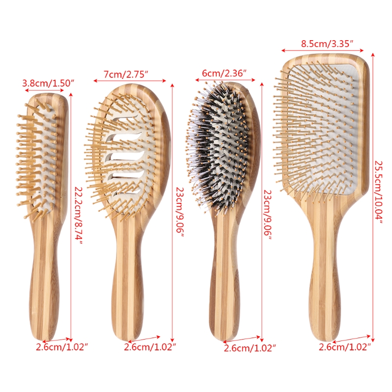 New Profissional Natural Bamboo Hair Brush Hairbrush Comb Health Care Massager Anti-static SPA Massage Combs Make Up 1