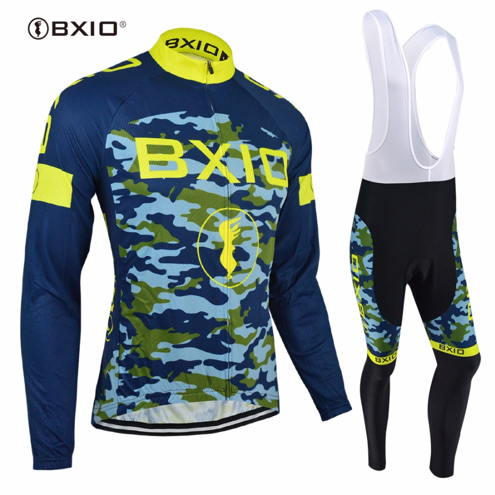 BXIO Pro Team Cycling Sets Ropa Ciclismo Winter Long Sleeve Cycling Clothing Camouflage Equipe De France Maillot Ciclismo 052