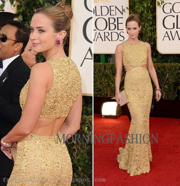 Emily Blunt Globes Dress Red Carpet Y Celebrity Dresses Gold See Through Beaded Lace