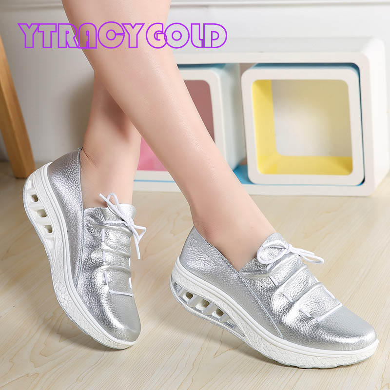 YTracyGold Silver Shoes Women Platform Flats Genuine Leather Women Sneakers Casual Shoes White Creepers Ladies Slimming Shoes цена