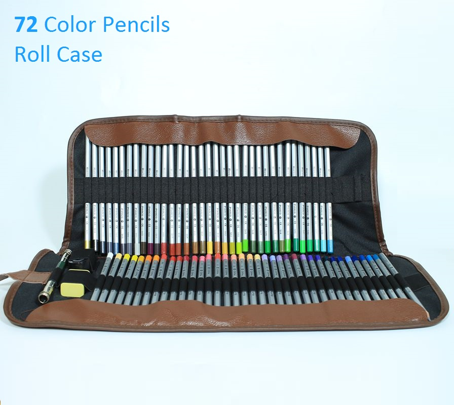 72 Colored Pencils Safe Non-toxic Pencil; 72 Roller Pencil Case Roll Pouch Pocket Package with Eraser,Sharpner and Extender